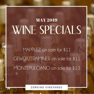 Zorvino May Wine Specials